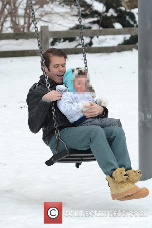 Perez Hilton in a snow bound Central Park...