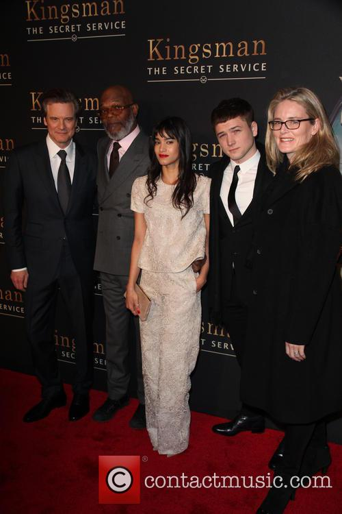 Cast From L To R, Colin Firth, Samuel L. Jackson, Sofia Boutella, Taron Egerton and Emma Watts 2