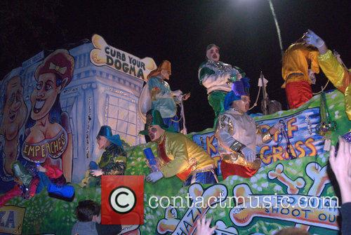 Parade Goers, Floats and Riders At Krewe Of Chaos 7