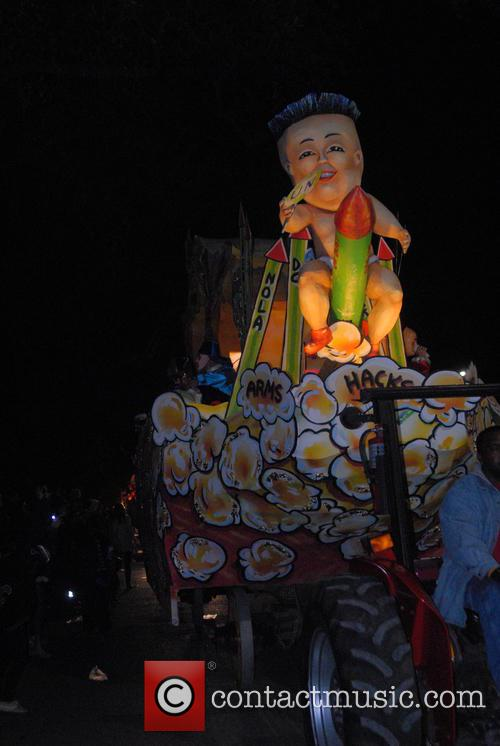 Parade Goers, Floats and Riders At Krewe Of Chaos 9