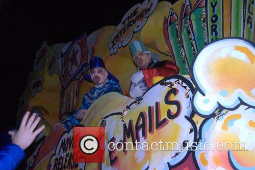 Parade Goers, Floats and Riders At Krewe Of Chaos 10