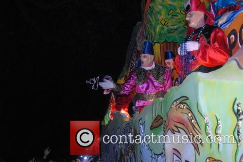 Parade Goers, Floats and Riders At Krewe Of Chaos 11