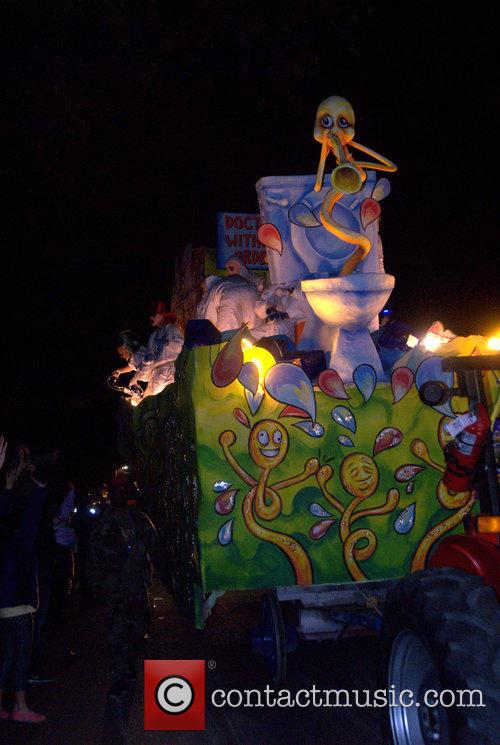 Parade Goers, Floats and Riders At Krewe Of Chaos 1