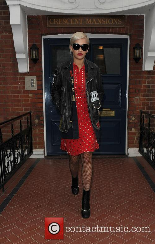 Rita Ora leaving her home, wearing a typically...