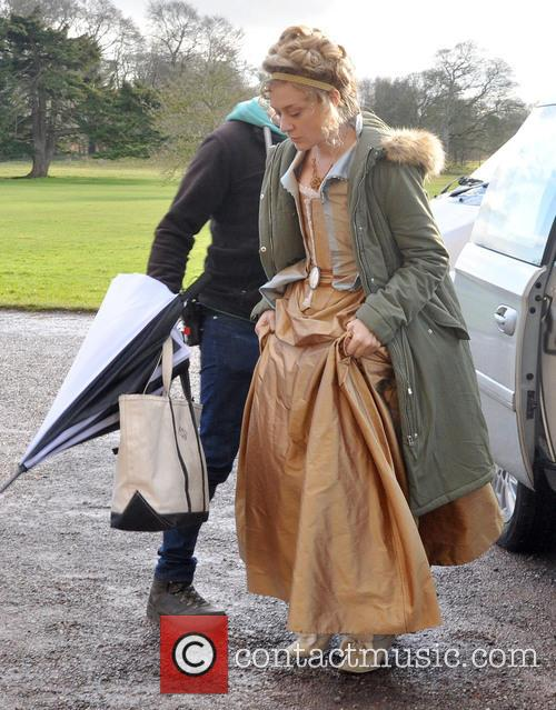 Cast arrive on set for the filming of...