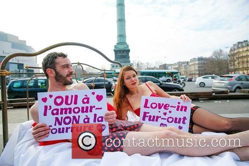 Nearly Naked Couple Bring, Peta, Fur Out, Love In' Message To and Paris 3