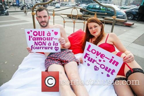 Nearly Naked Couple Bring, Peta, Fur Out, Love In' Message To and Paris 4