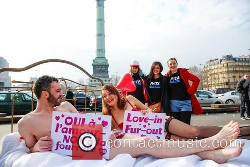 Nearly Naked Couple Bring, Peta, Fur Out, Love In' Message To and Paris 1