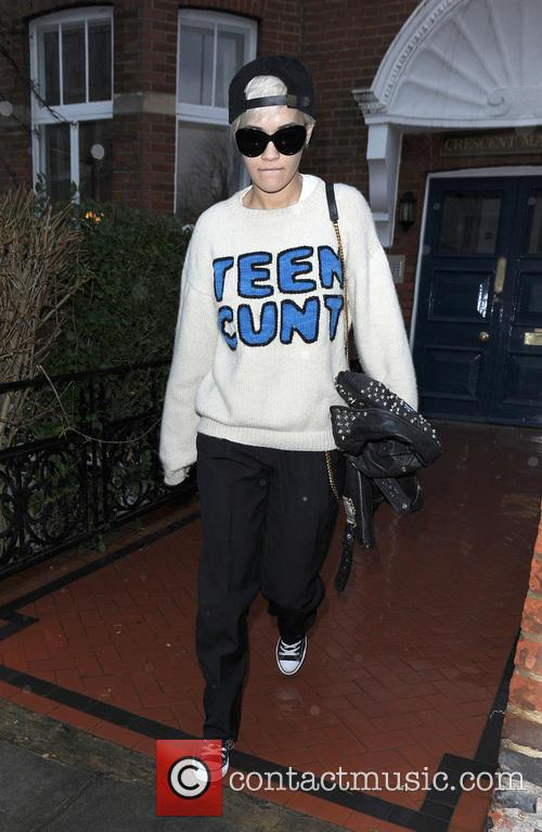 Rita Ora leaves her home wearing an offensive...
