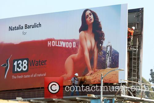 Natalia Barulich appears on a billboard on Sunset...