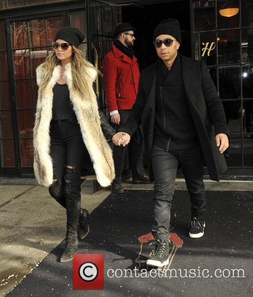 Chrissy Teigen and John Legend leaving The Bowery...