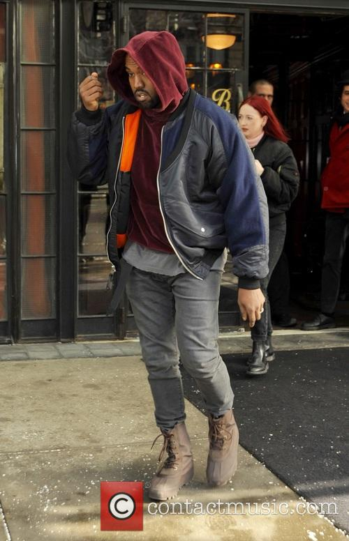 Kanye West leaving The Bowery Hotel