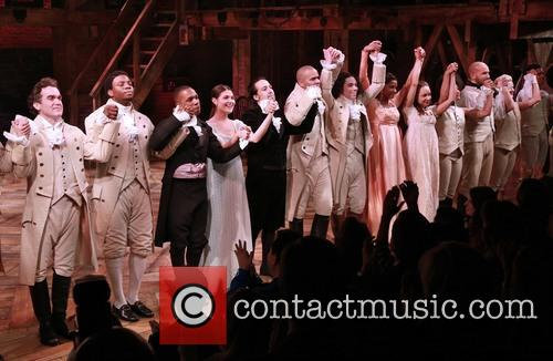 Brian D'arcy James, Okieriete Onaodowan, Leslie Odom Jr., Phillipa Soo, Lin-manuel Miranda, Christopher Jackson, Anthony Ramos, Renee Elise Goldsberry and Cast 3