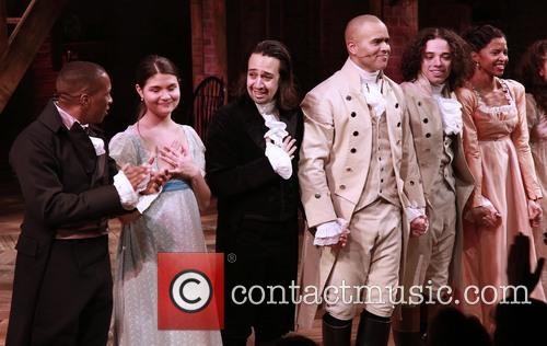 Leslie Odom Jr., Phillipa Soo, Lin-manuel Miranda, Christopher Jackson, Anthony Ramos and Renee Elise Goldsberry 3