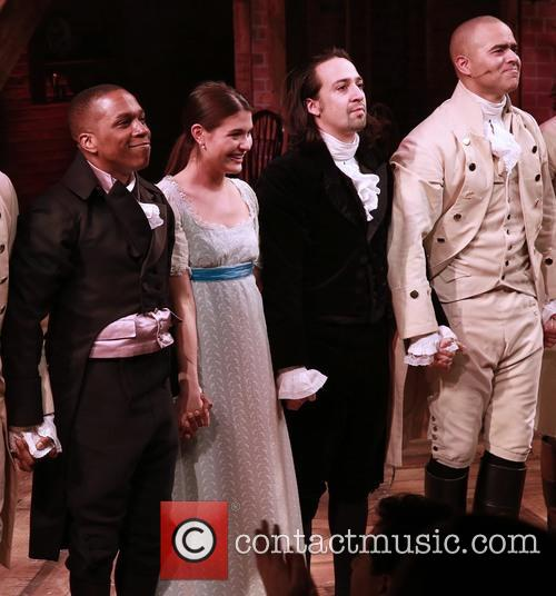Leslie Odom Jr., Phillipa Soo, Lin-manuel Miranda and Christopher Jackson 2