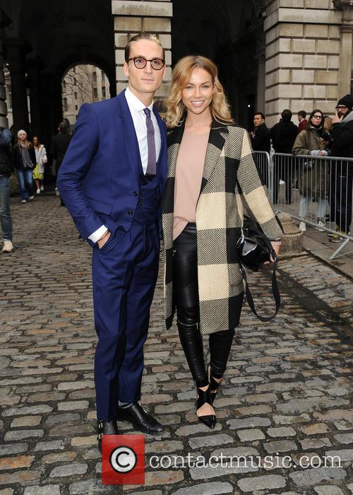Oliver Proudlock and girlfriend at LFW