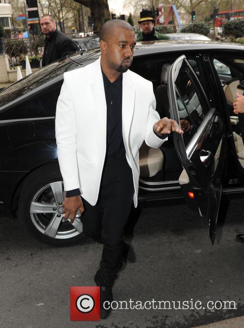 Kanye West arriving at a Hotel