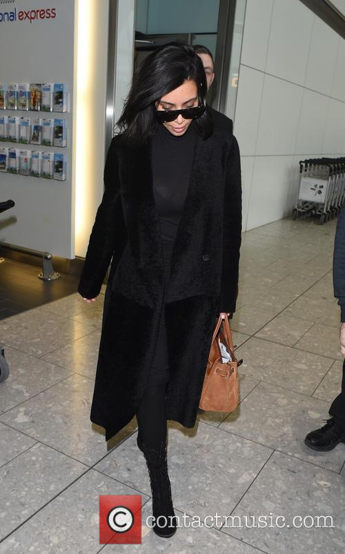 Kim Kardashian arrives at Heathrow Airport