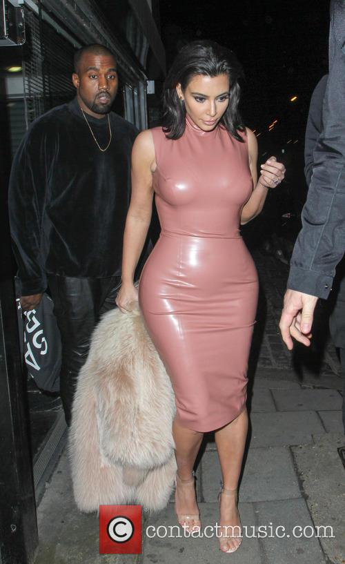 Kim Kardashian and Kanye West seen leaving a...