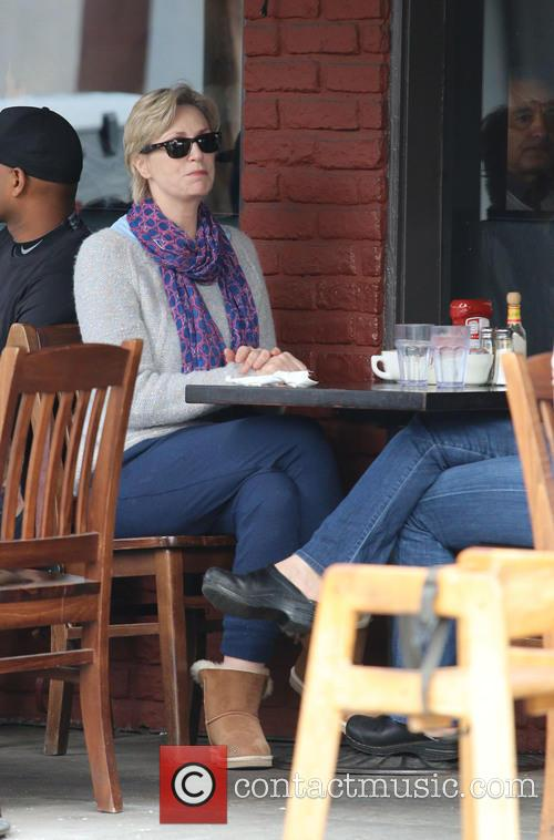 Jane Lynch having lunch with a friend at...
