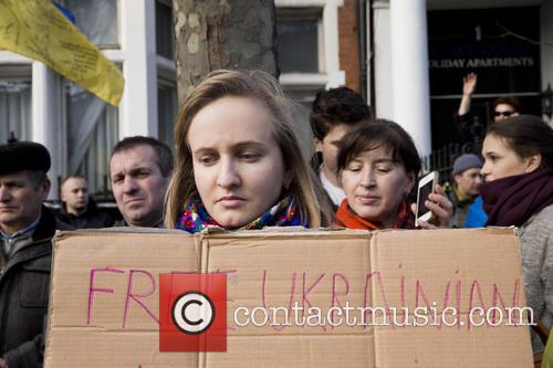 Ukrainians protest against President Putin and the continuing...