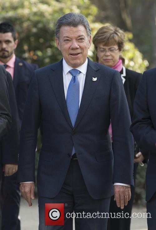 Colombia's President Juan Manuel Santos arriving at Madrid's...
