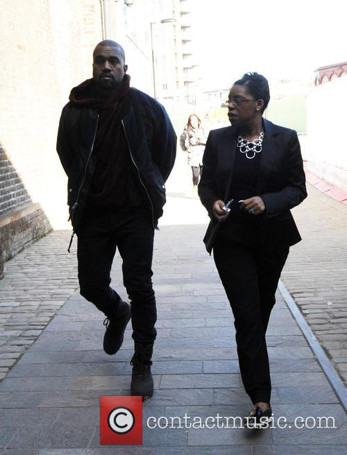 Kanye West arriving at Central Saint Martins