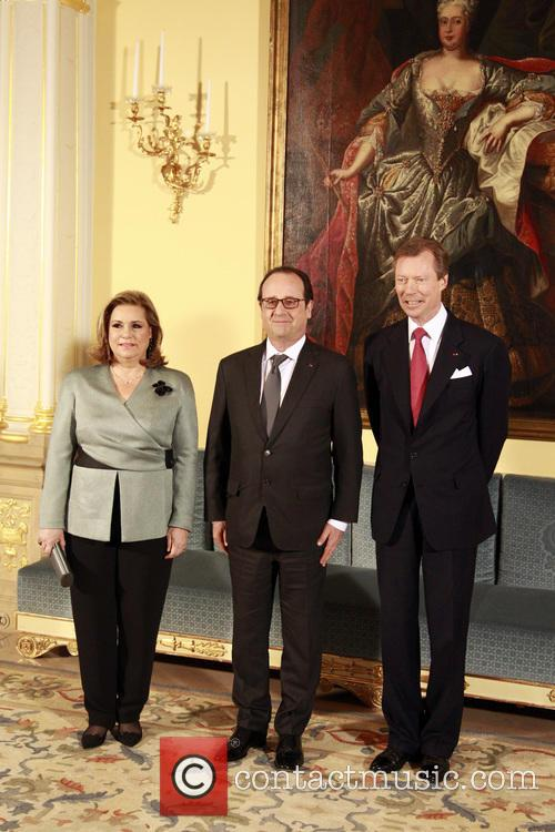 Francois Hollande, Grand Duke Henri Of Luxembourg and Grand Duchesse Maria Theresa 6