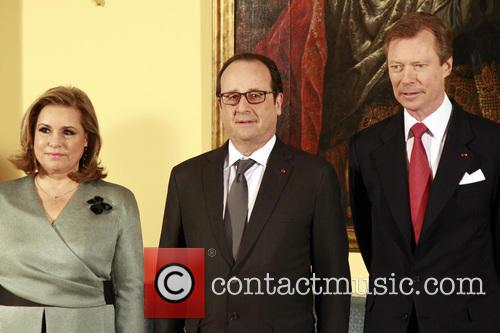 Francois Hollande, Grand Duke Henri Of Luxembourg and Grand Duchesse Maria Theresa 10