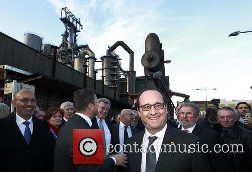 French President is accompanied by diginitaries from Luxembourg...