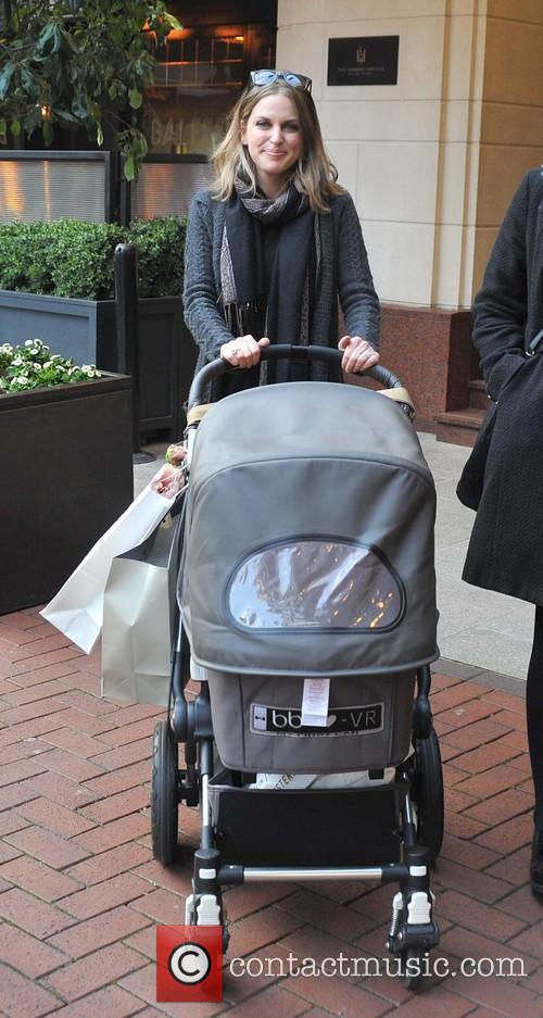 Actress Amy Huberman out shopping with her baby.