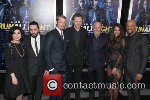 Sue Kroll, Jaume Collet-serra, Joel Kinnamam, Liam Neeson, Ed Harris, Genesis Rodriguez and Common 1