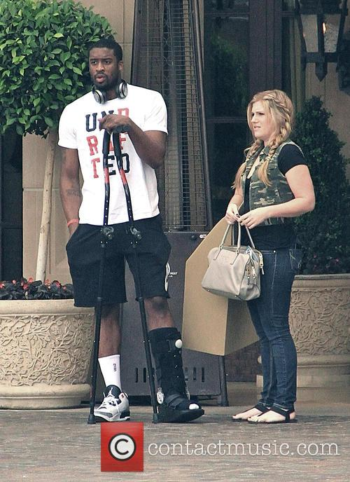 Wesley Matthews leaves a hotel in Beverly Hills