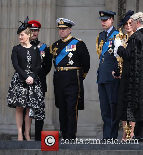 Prince Edward, Prince Andrew, Catherine Duchess Of Cambridge, Prince William and Cathedral 1