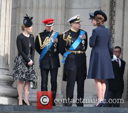 Prince Edward, Prince Andrew, Catherine Duchess Of Cambridge, Prince William and Cathedral 2