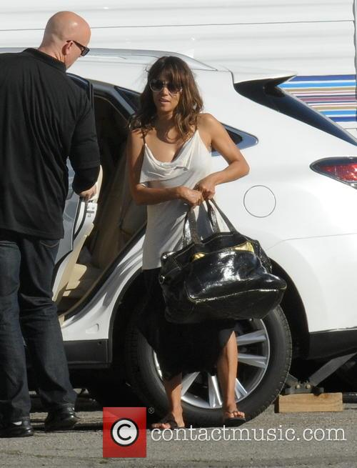 Halle Berry arriving on the set of