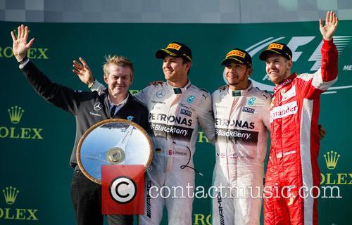 Lewis Hamilton, Nico Rosberg, Sebastian Vettel and Dr. Thomas Weber 2
