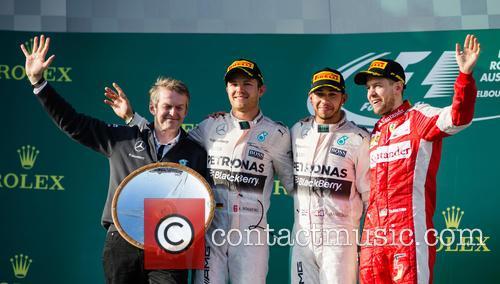 Lewis Hamilton, Nico Rosberg, Sebastian Vettel and Dr. Thomas Weber 3