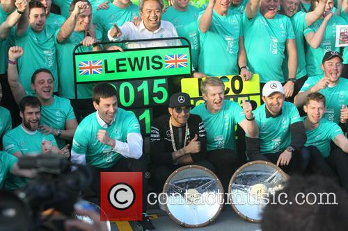 Toto Wolff, Lewis Hamilton, Dr. Thomas Weber and Nico Rosberg 2