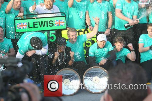 Toto Wolff, Lewis Hamilton, Dr. Thomas Weber and Nico Rosberg 3