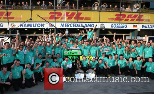 Toto Wolff, Lewis Hamilton, Dr. Thomas Weber and Nico Rosberg 1