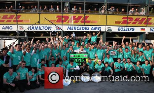 Toto Wolff, Lewis Hamilton, Dr. Thomas Weber and Nico Rosberg 7