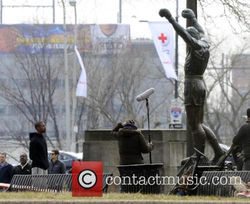 Michael B. Jordan at Rocky Statue