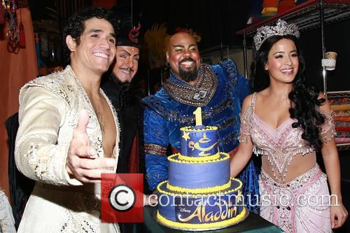 Adam Jacobs, Jonathan Freeman, James Monroe Iglehart, Courtney Reed and Cake By Beth Bennett Of Bebe Bakes 4