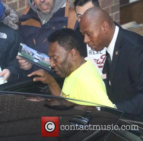 Football legend Pele visits the Subway restaurant