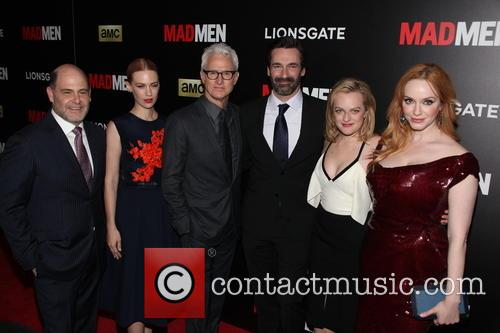 The Cast Of Madmen L To R, Matthew Weiner, January Jones, John Slattery, Jon Hamm, Elisabeth Moss and Christina Hendricks 1