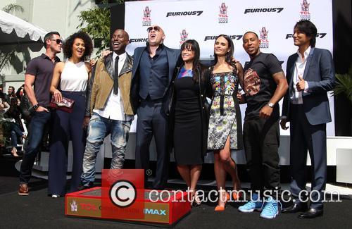 Luke Evans, Nathalie Emmanuel, Tyrese Gibson, Vin Diesel, Michelle Rodriguez, Jordana Brewster, Ludacris and Sung Kang 3