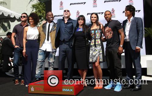 Luke Evans, Nathalie Emmanuel, Tyrese Gibson, Vin Diesel, Michelle Rodriguez, Jordana Brewster, Ludacris and Sung Kang 5