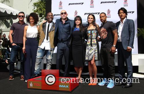 Luke Evans, Nathalie Emmanuel, Tyrese Gibson, Vin Diesel, Michelle Rodriguez, Jordana Brewster, Ludacris and Sung Kang 7