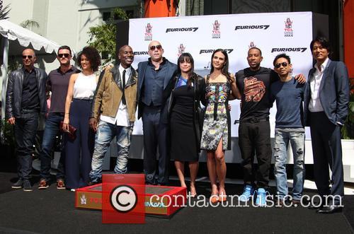 Luke Evans, Nathalie Emmanuel, Tyrese Gibson, Vin Diesel, Michelle Rodriguez, Jordana Brewster, Ludacris and Sung Kang 9